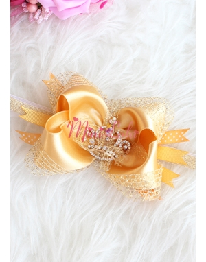 Gold renk simli prenses taşlı süslü saç bandı