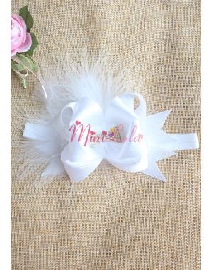 Beyaz renk fiyonklu taşlı tüy süslemeli saç bandı