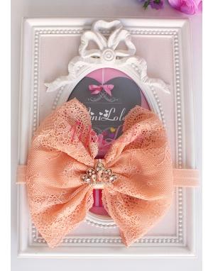 Somon renk dantelli prenses taşlı saç bandı