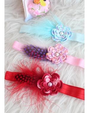 Renkli ebruli örgü çiçekli tüy detaylı zarif saç bandı seti