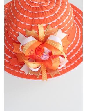 Turuncu renk beyaz fırfırlı gold gül süslemeli şapka