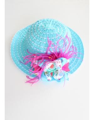 Turkuaz mavi renk beyaz fırfırlı lolipop desen fuşya tüylü şapka