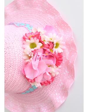 Pembe renkli karışık çiçek papatyalı şapka