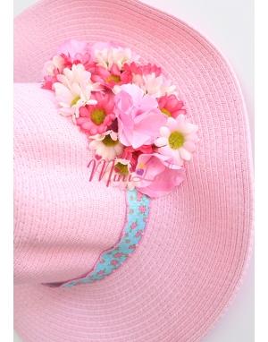 Pembe renkli karışık çiçek papatyalı yetişkin şapkası