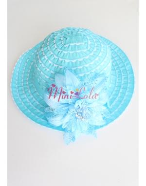 Turkuaz mavi taşlı çiçekli süslü şapka