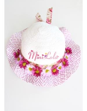 Mor papatya çiçekli lila beyaz renki şapka