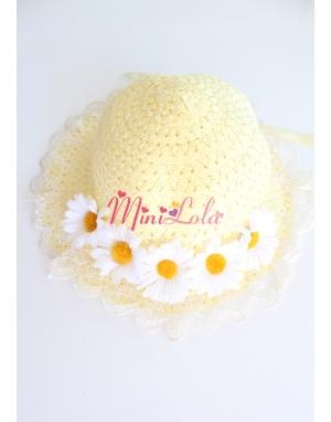 Sarı dantelli papatya çiçekli süslü şapka