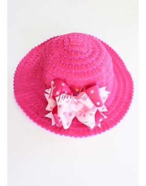 Fuşya renkli pembe kalp taşlı süslemeli şirin şapka