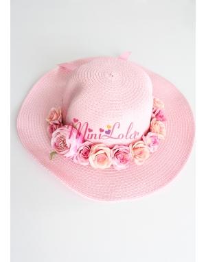 Pembe renkli şakayık krem pembe güllü yetişkin şapkası