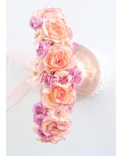 Yavruağzı lila karma güllü minik çiçekli krem tamtur taç