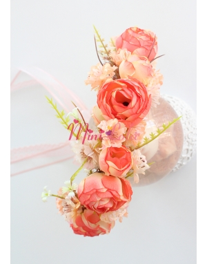 Turuncu kayısıgül çiçekli somon renkli yaprak süslü tamtur taç