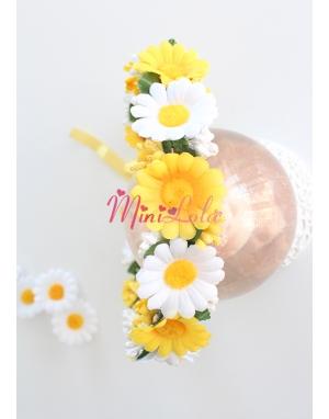 Sarı beyaz papatya çiçekli tomurcuk süslemeli tamtur taç