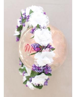 Beyaz tül güllü mor tomurcuk çiçekli tamtur sıralı taç