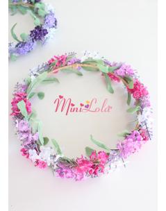 Pembe lila beyaz lavanta çiçekli tamtur sıralı taç