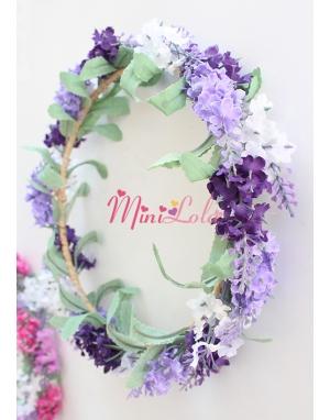Mor lila beyaz lavanta çiçekli tamtur sıralı taç