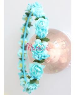 Mavi mini gül tomurcuk çiçekli tamtur taç