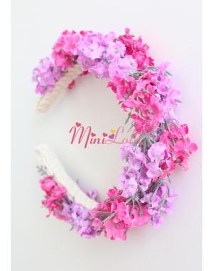 Pembe lila lavanta çiçekli sıralı tamtur taç