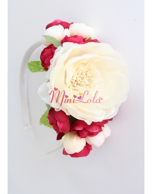Krem geniş şakayık güllü bordo minik çiçekli taç