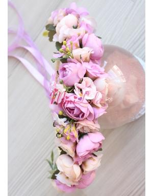 Mini lila mor erengül çiçekli güllü tamtur taç