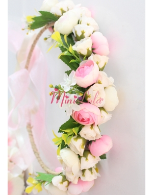 Mini tatlı pembe krem erengül çiçekli güllü tamtur taç