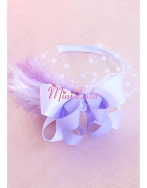 Beyaz lila fiyonklu puantiye tül süslemeli tüylü taç