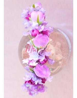 Lila tomurcuk güllü mor çiçekli karma sıralı taç