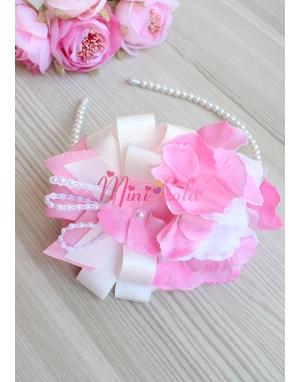 Pembe krem ortanca çiçekli şık fiyonk inci süslemeli lohusa seti
