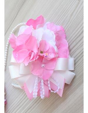 Pembe krem ortanca çiçekli şık fiyonk inci süslemeli taç