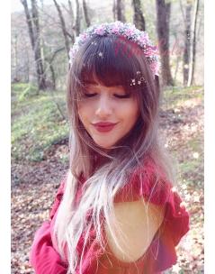 Pembe gümüş renk sim çiçekli zarif taç