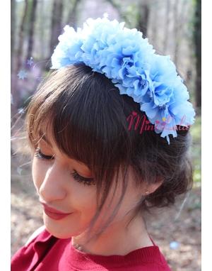 Mavi renk tamtur çiçekli zarif taç