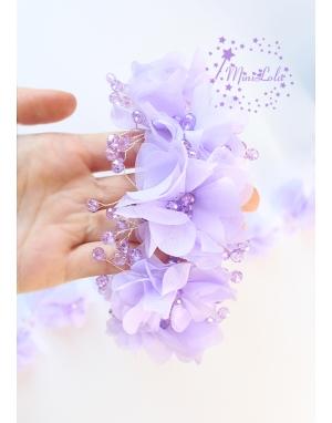 Lila renk kristal taşlı şifon çiçek süslemeli küpeli taç saç aksesuarı
