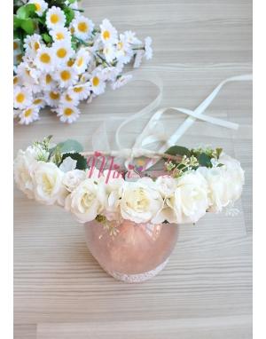 Krem renk güllü mini çiçek tomurcuk süslü tamtur taç