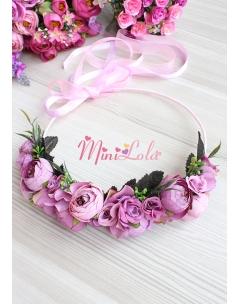Mor lila renk erengül çiçekli mini güllü tamtur taç