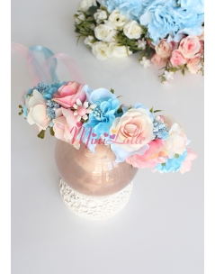 Pudra pembe soft renkli mavi karma çiçekli tamtur taç