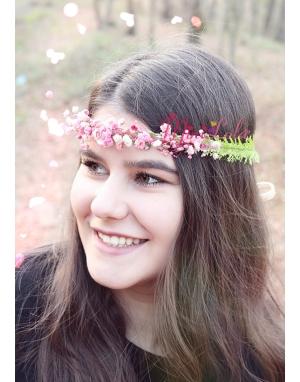 Pembe yeşil aradal çiçekli zarif bağlamalı taç
