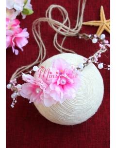 Pembe renk çiçekli beyaz inci detaylı zarif bağlamalı taç