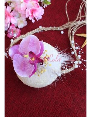 Lila mor renk orkideli beyaz inci detaylı zarif bağlamalı taç