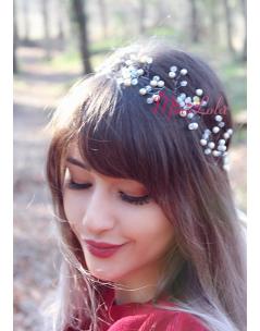 Ekru şeffaf renk inci çiçek detaylı zarif bağlamalı taç