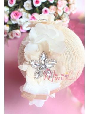 Krem kahve renk çiçekli zarif gümüş taş süslemeli taç