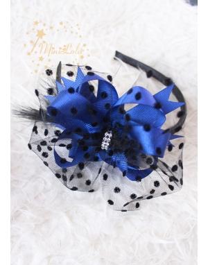 Saks mavi fiyonk süslemeli siyah puantiye tüllü taşlı taç