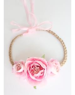 Pembe büyük küçük şakayık çiçekli tomurcuk süslemeli bağlamalı taç