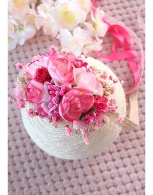 Fuşya pembe renk karma çiçekli zarif yandan bağlamalı taç