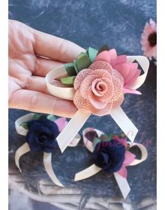 Somon lacivert renkli gül çiçek fiyonklu klips toka