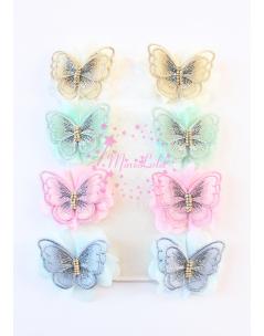 Çok renkli kelebek çiçekli klips toka seti