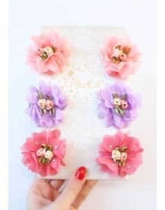 Çok renkli şifon çiçek taşlı klips toka seti